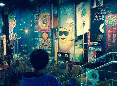 boutique-M&M-new-york avec enfant